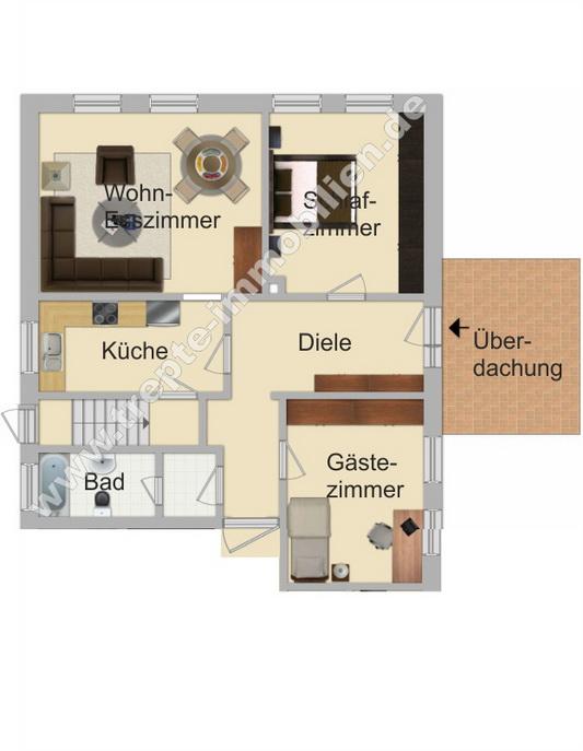 Grundriss vermietete Wohnung im EG