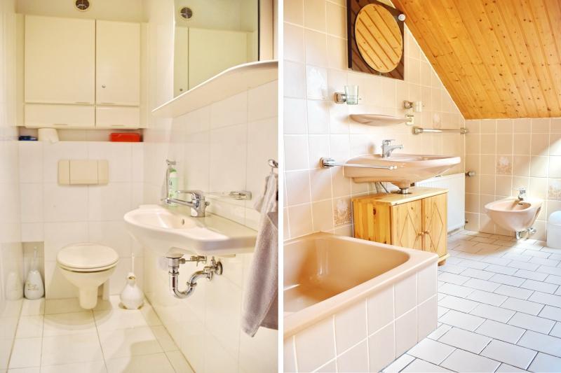 Gäste-WC Erdgeschoss und Badezimmer Einliegerwohnung