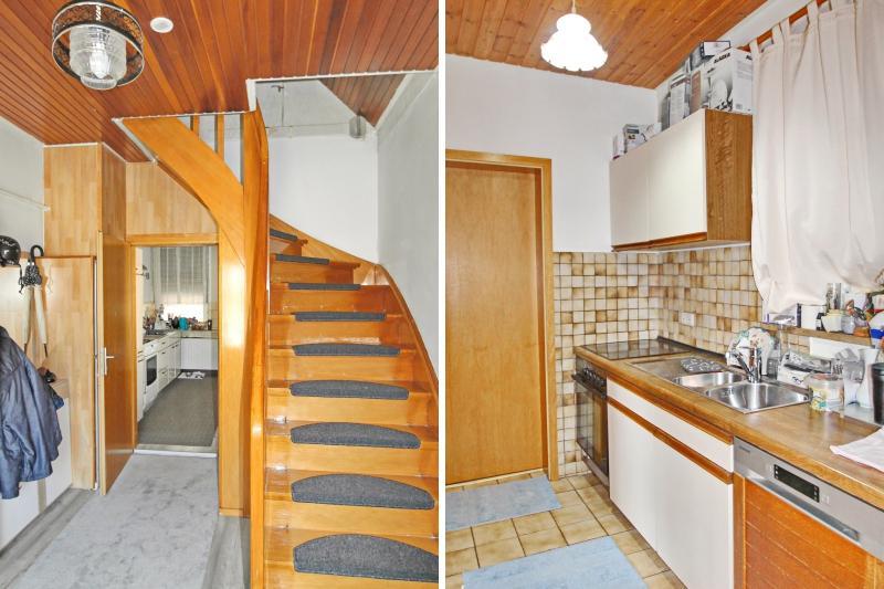 Treppenaufgang und Küche